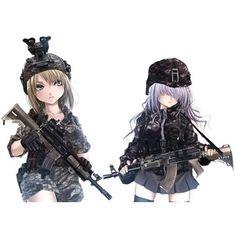 2girls call of duty gun hat skirt terabyte (rook777) thighhighs weapon white   konachan.net