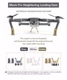 Mavic Pro Heightened Landing Gear Lengthened Extended Support Safe Landing Bracket Protector for DJI Mavic Pro Quadcopter Drone
