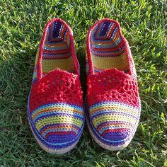 Ravelry: Lace & Stripe Espadrilles - Basic Slipper Pattern pattern by Sophie and Me-Ingunn Santini