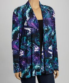 Another great find on #zulily! Purple & Aqua Abstract Open Cardigan - Plus #zulilyfinds