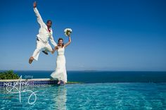 Sarah and Perry's wedding was a beautiful event. It was held in Puerto Rico and they were completely laid back and excited about the photography, so that made my job super easy and fun! The jet ski photo was Sarah's idea and the infinity pool was mine and I'm glad they were so adventurous because we got some great shots.