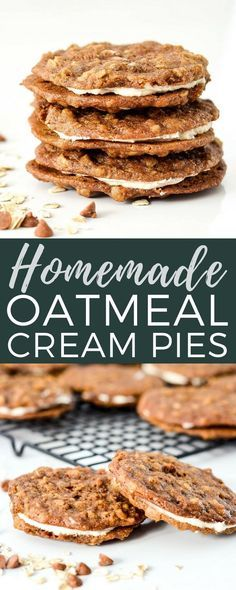 These Homemade Oatmeal Cream Pies are so much better than their store-bought counterparts and are made completely from scratch! Plus, they can be made ahead and are freezer-friendly! An absolutely delicious dessert to feed a crowd! Mini Desserts, Make Ahead Desserts, Easy Desserts, Delicious Desserts, Yummy Food, Freezer Desserts, Freezer Meals, Freezable Meals, Yummy Yummy