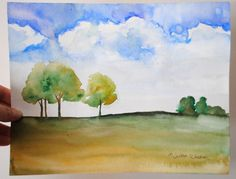 "Original watercolor on paper, Summer Afternoon, 9""x11.5"" (landscape/horizontal orientation) 2011 This is painted with quality artist watercolor paints on heavy watercolor paper. Painting comes signed"