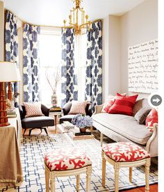 Coral and navy collide to create a stunning space designed by @Meredith Heron.