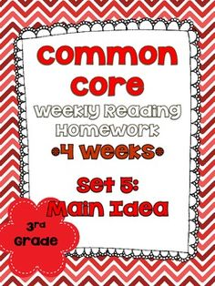 3rd grade weekly reading homework for Common Core! Aligned with the lexile levels for 3rd grade. This set focuses on main idea of informational text.