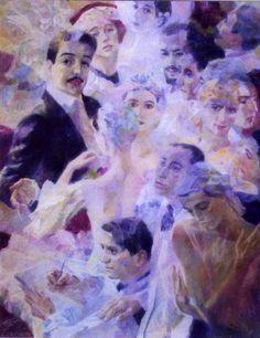"Georgy Shishkin _ Toile de Gueorgui Chichkine "" Les Ballets Russes"" Ballet, Contemporary, Inspiration, Painting, Art, Toile, Biblical Inspiration, Painting Art, Paintings"