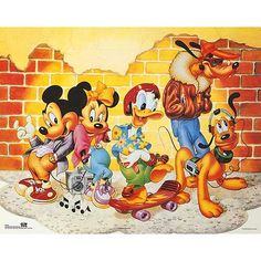 ''Mickey & Friends: Brick Wall'' by Walt Disney Animation Art Print Disney Micky Maus, Walt Disney Mickey Mouse, Mickey Mouse And Friends, Minnie Mouse, Retro Disney, Vintage Disney, Disney Art, Disney Pics, Disney Pictures
