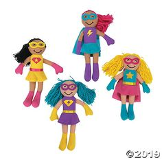 These cute dolls have come to the rescue with cuddles! Super gifts for the heroines in your life, these plush toys are party favors with pow! Superhero Favors, Girl Superhero Party, Party Favors, Fun Express, Kids Party Supplies, Cute Dolls, Plush Dolls, Girl Birthday, Birthday Ideas