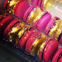 From Glamour's Instagram: Gold-leaf-covered macarons from Laduree in Paris