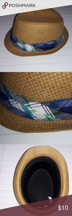 14b5fa3286d Boys Straw Fedora with Madras Plaid Band sz 7 8 Just on time for Easter