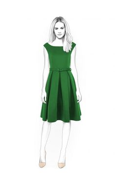 Dress With Open Shoulders - Naaipatroon #4400. Made-to-measure sewing pattern from Lekala with free online download.