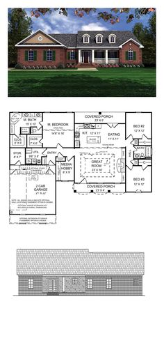 European House Plan 59011 | Total Living Area: 1751 sq. ft., 3 bedrooms and 2 bathrooms. Beautiful classic traditional with a European touch. Vaulted ceilings in Master bedroom and trayed ceiling in great room make the house feel really larger than it is. #europeanhome #houseplan
