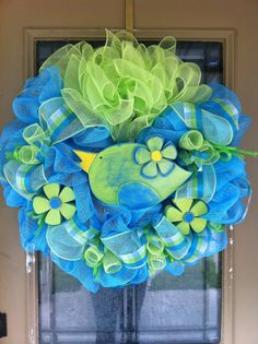 Spring and Summer Bird Deco Mesh Wreath by SignsBYDebbieHess
