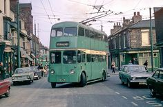 Trolley bus reversing into the temporary reversing point in Hampden Street, North Ormesby. This was as a result of roadworks for the construction of the A66 which meant the normal reversing loop at the terminus could not be used.