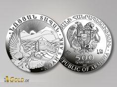 Arche de Noé 500 Dram - Arménie. Une nouvelle pièce d'investissement : 1 once d'argent pur.