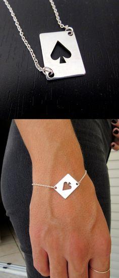 Poker bracelet - Queen of Spades bracelet - Dom bracelet - Ace of spades - Feminism bracelet  #Pokerbracelet #QueenofSpades bracelet #DomJewelry