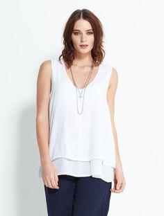 Double Layer Vest Top White