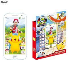 Nuevo Teléfono Móvil Del Bebé de Poke Bola Pikachu Teléfono de Juguete Musical con Historia Canción 5D Educativos Electrónicos Juguetes para Bebés de Navidad regalo
