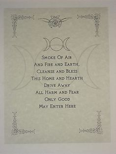 Wiccan House Blessings Poster or Book of Shadows Page Wicca Pagan Witchcraft in Collectibles, Religion & Spirituality, Wicca & Paganism   eBay by kara