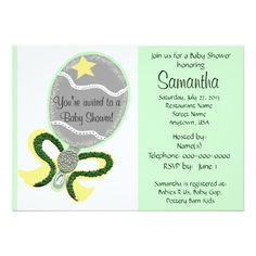 Elegant Silver Baby Rattle with a Yellow Star,  Green Beaded with yellow outline and the look of beads and sprinkles.  PERSONALIZE with your details at N/C.  Gender Neutral for Baby Boy or Baby Girl Baby Shower Invitation Cards.  CLICK on Store link for matching Thank You cards, custom Postage Stamps, Cake Pops, Favor Boxes & more.  Original Graphic Art Hand-Painted Digital design by TamiraZDesigns via:  www.zazzle.com/tamirazdesigns*