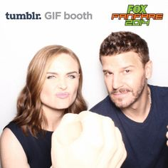 Emily Deschanel and David Boreanaz of the hit show, #Bones, punch each other at the 2014 San Diego Comic-Con. How violent slash slightly awesome!