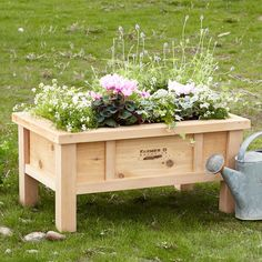 """URBAN FARMER STANDING PLANTER BOX--Handsomely constructed in the USA of FSC-Certified western red cedar, this elevated planter on legs is ideal for growing fruits, vegetables or flowers on your patio or deck. Naturally rot-resistant, with galvanized exposed bolts, the wood will weather to a soft gray. 28-1/2""""W x 16""""D x 14""""H."""