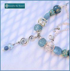 Chunky Light Blue Silver Pendant Necklace Chunky Blue Boho