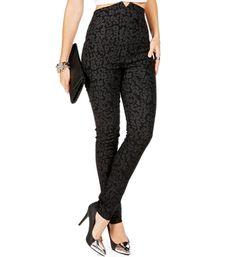 Black Leopard Print High Waisted Pants