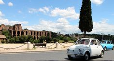The Dearoma Fiat touring and the Palatine Hill background