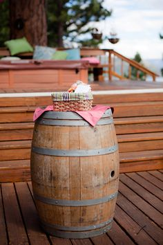 Our Wine Barrel cocktail tables are perfect for an outdoor wedding!