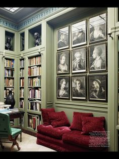 Traditional home Library with medium Jade Green walls and Garnet red couch . Red Couch Living Room, Sage Green Walls, Decoration Inspiration, Workspace Inspiration, Color Inspiration, Home Libraries, Public Libraries, Red Sofa, Red Velvet Sofa
