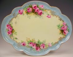 Limoges France Hand Painted Roses Tray. painted spider webs.