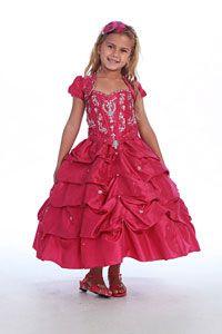 Flower Girl Dresses -   Girls Dress Style 102- FUCHSIA- Taffeta and Beaded Satin Bodice Pickup Dress