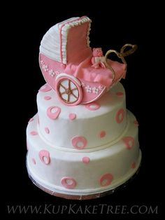 Pink Baby Carriage Baby Shower Cake