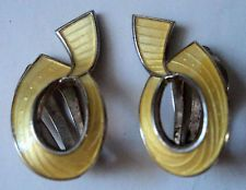 Norwegian Silver Yellow Enamel Clip On Earrings - Ivar Holt  Norway