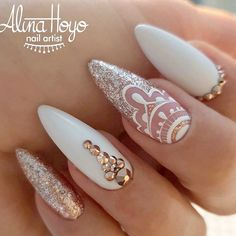 Gold White And Mandala Accent Perfect Nail Design For Bride #nudenails #goldglitter ❤️Mandala nail art is intricate, popular and Bohemian that is why we invite you to have a closer look at our mandala nails designs collection!❤️ See more: https://naildesignsjournal.com/mandala-designs-nails-ideas/ #naildesignsjournal #nails #nailart #naildesigns