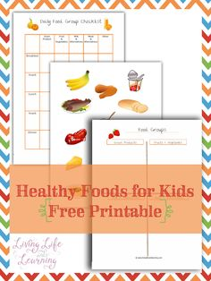 Teach your kids to watch what they eat with this Healthy Foods for Kids Printable. Now they can track if they are eating from the different food groups.