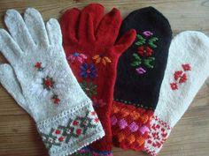 Beautiful embroidered Swedish mittens