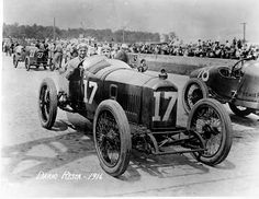 """""""500 Indianapolis"""" - Dario Resta - May 30, 1916. Peugeot EX3, average speed: 84.001 mph (135.187 km/h).  Dario Resta led 103 of the 120 laps, and claimed the victory. Resta was accompanied by riding mechanic Bob Dahnke."""