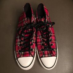 """Selling this """"LISTING Plaid Converse High Tops"""" in my Poshmark closet! My username is: allaboutmeposh. #shopmycloset #poshmark #fashion #shopping #style #forsale #Converse #Shoes"""