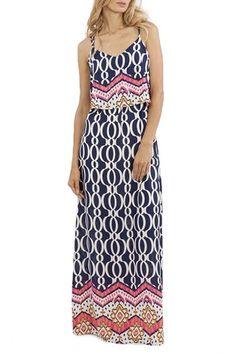 Estate Print Strappy Back Maxi Dress - Navy + Multi