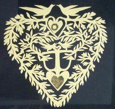 Intricate Scherenschnitte Love Token w Love Birds Hearts An Anchor C1850S | eBay