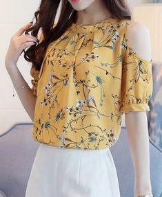 071d095d327 Chiffon Print Blusas Floral Shirt Open Shoulder Blouses