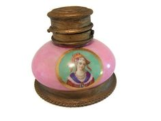 Antique French porcelain and brass inkwell by T.H. of Paris. Late nineteenth century inkwell.  Victorian desk item.
