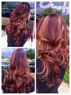 Red hair with blonde peekaboo highlights by Samantha Arvizo