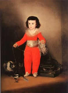 FRANCISCO  de GOYA (Spanish) painted this portrait of Don Manuel Osorio, son of a nobleman arond 1788. It is a serene epitome of childhood, and yet, what of the cats staring so fixedly at the magpie? Soon such disquieting effects , here in the background, would come to dominate his work. Read more: http://www.backtoclassics.com/gallery/franciscogoya/don_manuel_osorio_manrique_de_zuniga/