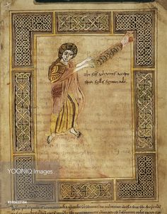 St. John receives the Revelation Scroll, Valenciennes Bibliothèque municipale Ms. 99, 9th century apocalypse (Revelation 1:1)