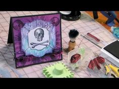 quick halloween stamping gear card