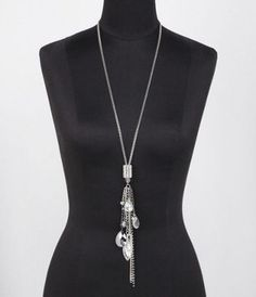 MULTI CHARM MIXED CHAIN FRINGE NECKLACE at Express $24.43 on SALE now