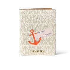 MICHAEL MICHAEL KORS Women's Sail Away Passport Case - Vanilla-Acorn ($93) ❤ liked on Polyvore featuring bags, wallets, apparel & accessories, michael michael kors bags, white wallet, bi-fold wallets, michael michael kors and bifold wallet
